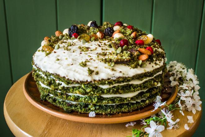 Leśny mech – ciasto ze szpinakiem na słodko